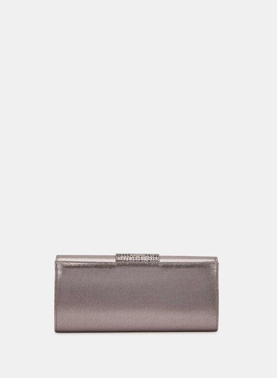 Metallic Flapover Clutch , Grey, hi-res