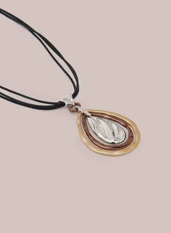 Collier en corde à pendentif goutte, Jaune,  automne hiver 2020, collier, corde, pendentif, goutte, corde, bijou, accessoire