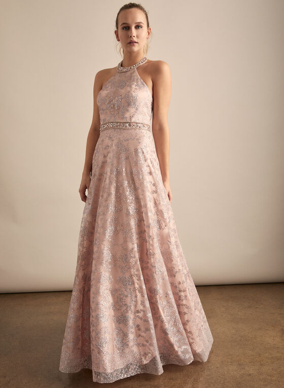 Cachet - Floral Glitter Ball Gown, Pink