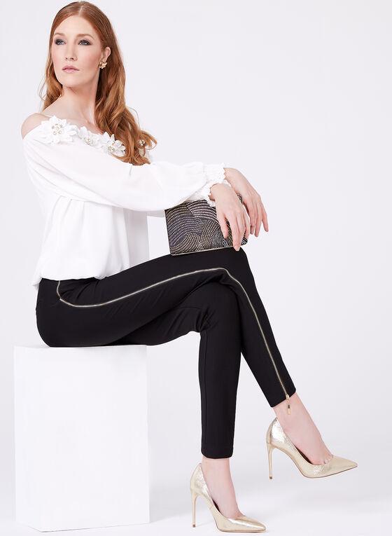 Frank Lyman - Pantalon jambe étroite avec zips décoratifs, Noir, hi-res