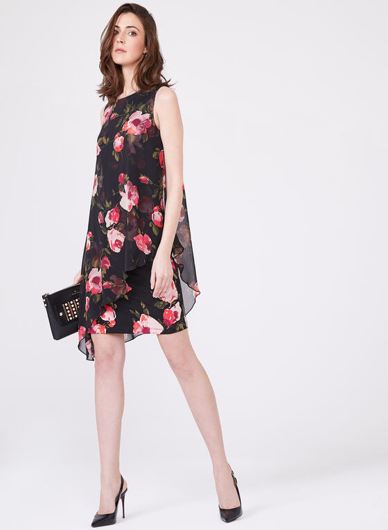Asymmetric Floral Print Dress, Black, hi-res