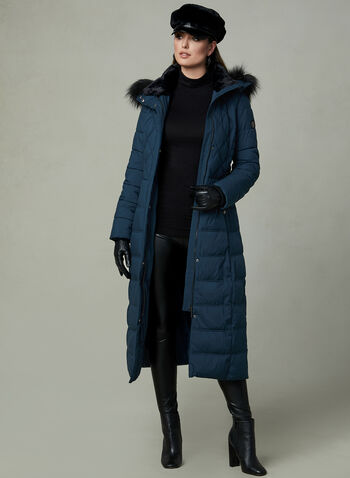 Bernardo - Long Faux Down Coat, Blue, hi-res