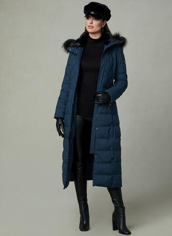 Bernardo - Manteau long à fausse fourrure , Bleu, hi-res