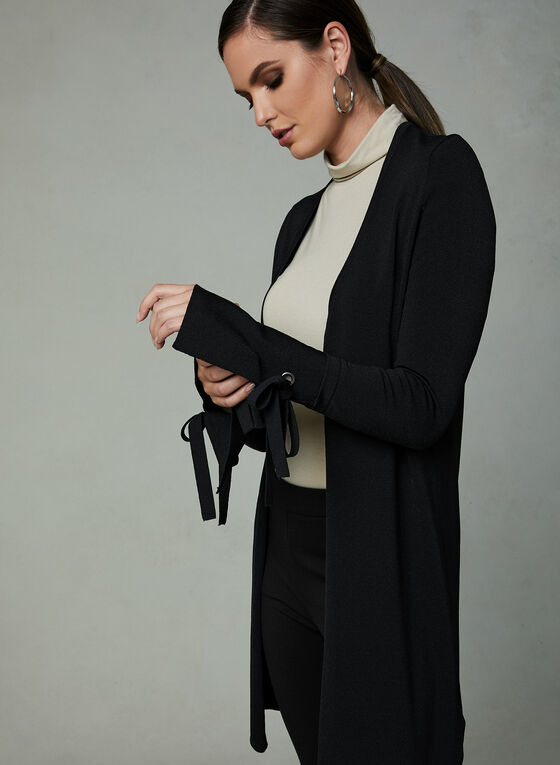 Open Front Bell Sleeve Cardigan , Black, hi-res
