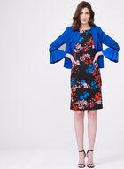 Robe fourreau manches courtes imprimé floral, Noir, hi-res