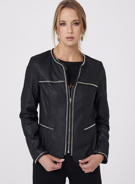 Faux Suede Studded Jacket, Black, hi-res