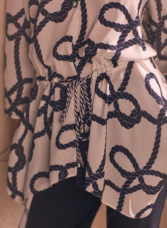 Rope Print Pointed Hemline Blouse, White