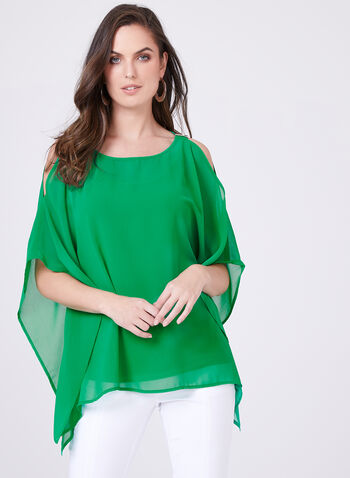 Two Piece Camisole Cold Shoulder Poncho Set, Green, hi-res