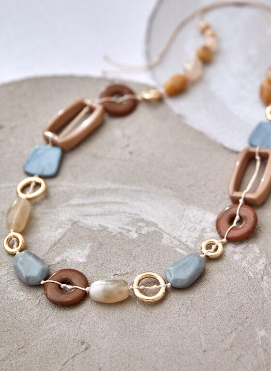 Collier long à corde et mélanges de pierres, Brun