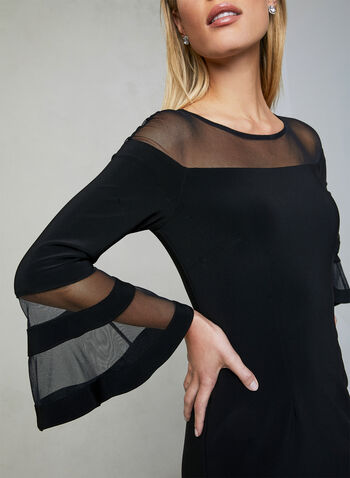 Joseph Ribkoff - Bell Sleeve Illusion Dress, Black, hi-res