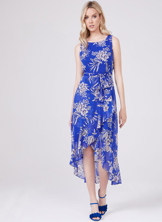 Sandra Darren – Asymmetric Floral Print Chiffon Dress, Blue, hi-res
