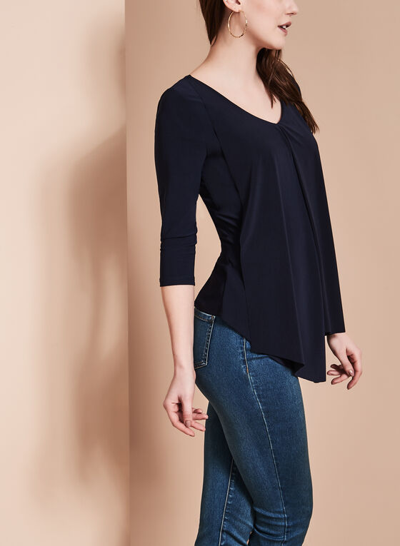 3/4 Sleeve Peaked Tunic Top , Blue, hi-res