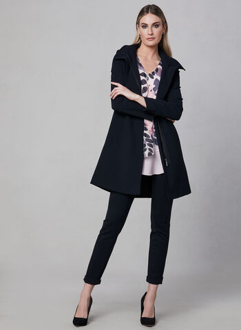Portrait - Belted Trench Coat, Black, hi-res