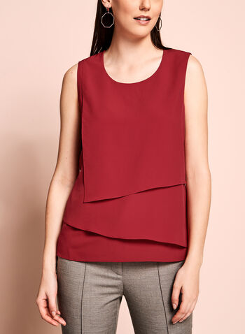 Sleeveless Cascade Front Blouse, Red, hi-res