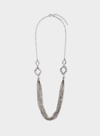 Hammered Metal Multi Chain Necklace, Silver, hi-res
