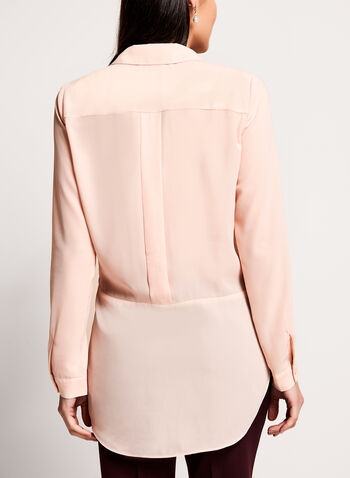 Long Sleeve Notch Collar Tunic Blouse, Pink, hi-res