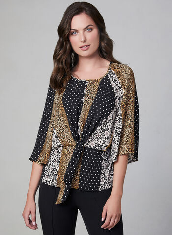 Mixed Print Tie Detail Blouse, Black, hi-res,  floral print blouse top, animal print blouse top, leopard print blouse top, polka-dot blouse top,