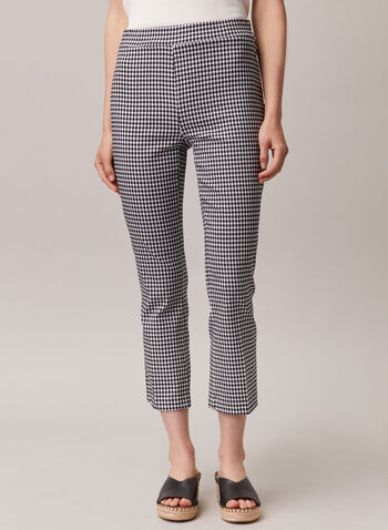 Chapter One - Gingham Print Pull-On Capris, Black,  capris, pull-on, gingham, flared leg, bengaline, spring summer 2020