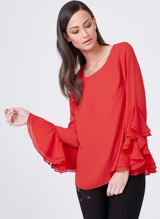 Ruffle Bell Sleeve Blouse, Red, hi-res
