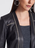 Vex - Blazer ouvert aspect cuir et détails cloutés, Noir, hi-res