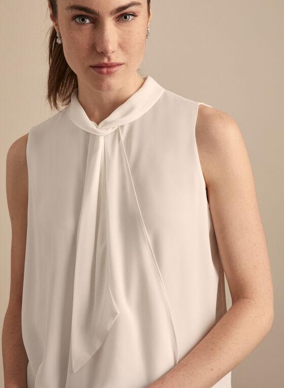 Sleeveless Tie Neck Blouse, Off White