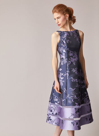 Adrianna Papell - Floral Motif Midi Dress , Blue,  fall winter 2020, floral print, midi, dress, boat neck, v neck, sleeveless, a-line, a line, two tone, two-tone, pattern, jacquard