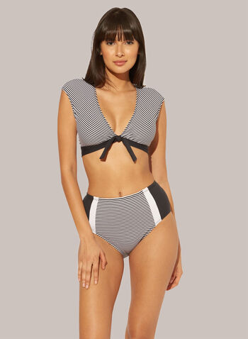 Bleu by Rod Beattie - Striped Two Piece Swimsuit, Black,  spring summer 2021, deep v neck, two pieces, open back, removable cups, knot detail, color blocks, bikini,