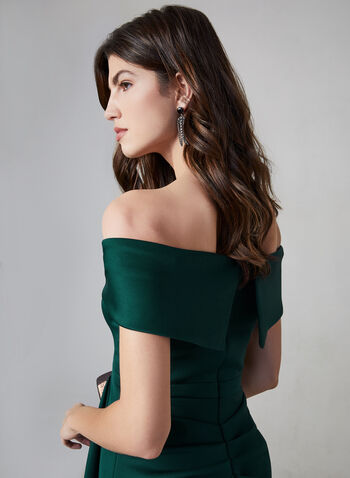 BA Nites - Off-the-Shoulder Dress, Green,  evening gown, off-the-shoulder, draped, slit, heart shaped neckline, fall 2019, winter 2019