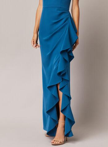 Robe bustier à volants, Bleu,  robe de soirée, volants, bustier, crêpe, automne hiver 2020