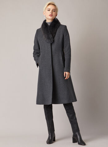 Mallia - Manteau mi-long en laine et cachemire, Gris,  manteau, laine, cachemire, fourrure, ajusté évasé, automne hiver 2020