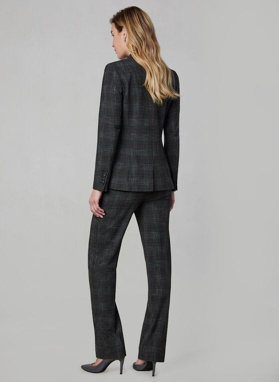 Plaid Print Blazer, Grey