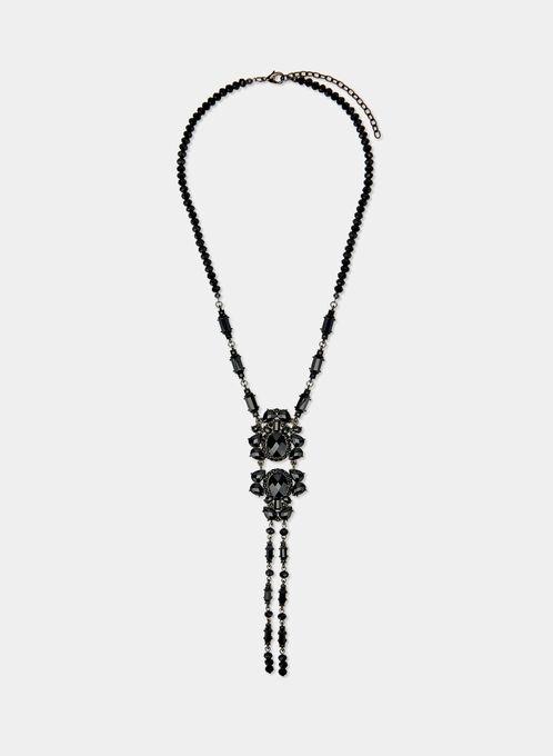 Crystal Pendant Necklace, Black, hi-res