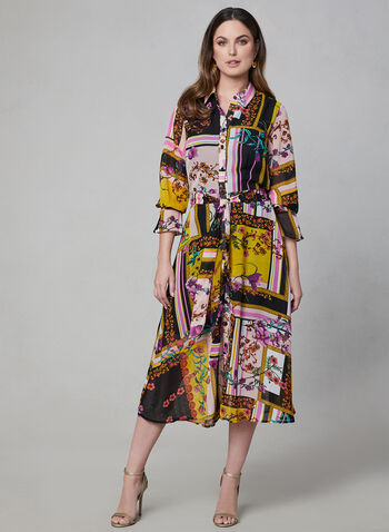 Mixed Print Shirt Dress, Black, hi-res