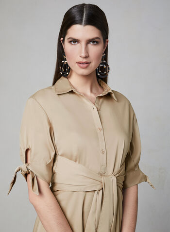 Poplin Shirt Dress, Brown, hi-res