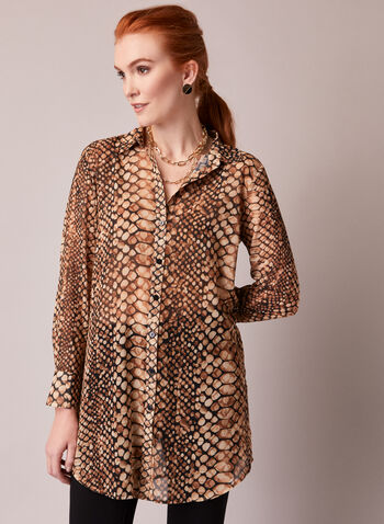 Snake Print Chiffon Tunic Blouse, Brown,  top, tunic, blouse, snake print, long sleeves, shirt collar, button front, fall winter 2020