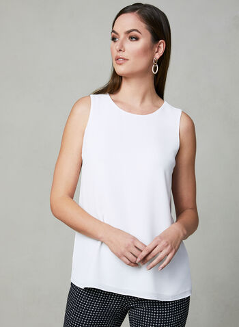 Sleeveless Crepe Blouse, Off White, hi-res,