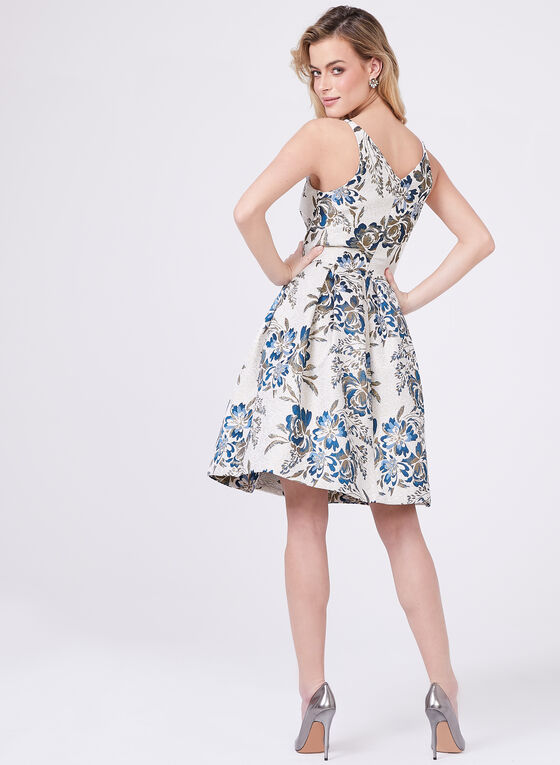 BA Nites – Floral Print Metallic Brocade Dress, Multi, hi-res