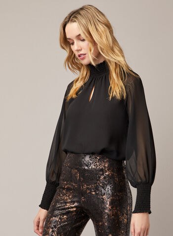 Smocked Detail Chiffon Top, Black,  top, high neck, smocked, chiffon, long sleeves, keyhole, fall winter 2020