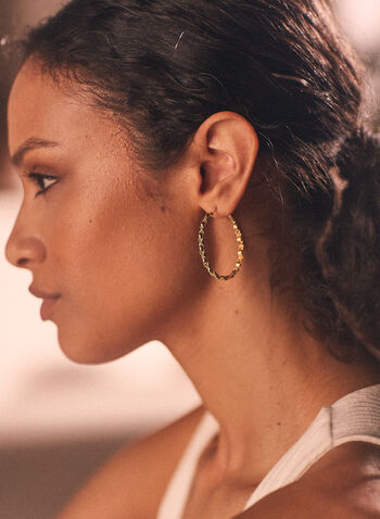 Braid Hoop Earrings, Gold,  earrings, hoop, braid, metallic, spring summer 2021
