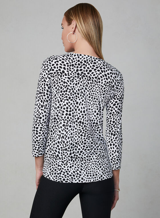 Pebble Print Tie Detail Top, White, hi-res