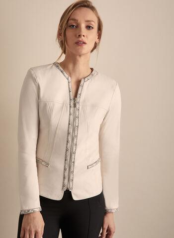 Frank Lyman - Faux Snakeskin Detail Jacket, Off White,  jacket, faux snakeskin, rhinestones, faux leather, long sleeves, spring summer 2020