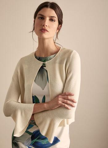 Alison Sheri - Rhinestone Detail Bolero, Off White,  bolero, knit, glitter, rhinestone, bell sleeves, 3/4 sleeves, spring summer 2020