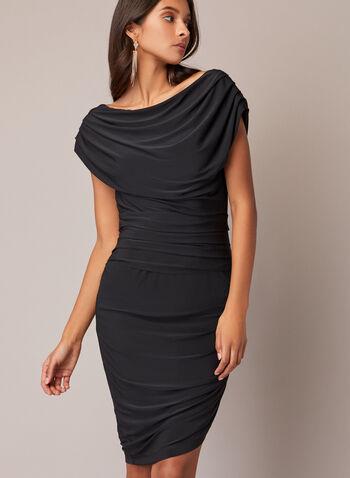Robe cocktail drapée, Noir,  automne hiver 2020, robe, robe cocktail, manches courtes, encolure bateau, drapé, ajusté, moulant, asymétrique, fente, jersey