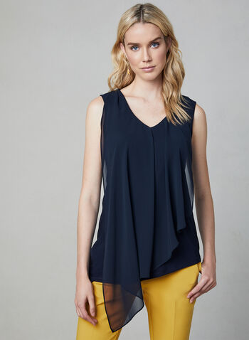 Sleeveless Asymmetric Top, Blue, hi-res,  fall 2019, winter 2019, chiffon, asymmetric, sleeveless, V-neck