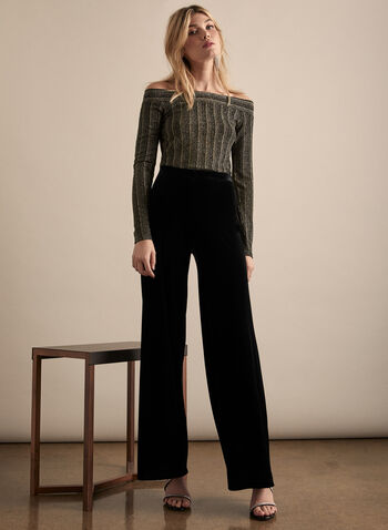 Wide Leg Velvet Pants, Black,  Canada, pants, velvet, velour, pull on, elastic waist, wide leg, fall 2019, winter 2019