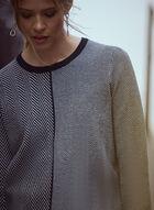 Herringbone Contrast Sweater, Black