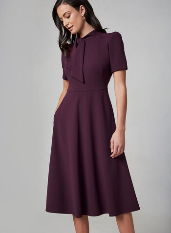 Maggy London - Short Sleeve Midi Day Dress, Purple, hi-res,  dress, midi dress, day dress, short sleeves, bow, stretch, flowy, a-line, fall 2019, winter 2019