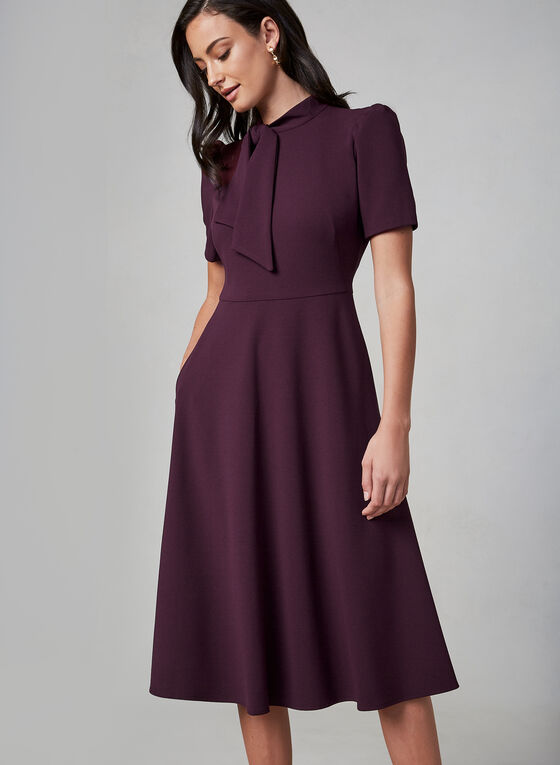 Maggy London - Robe mi-longue à manches courtes, Violet, hi-res