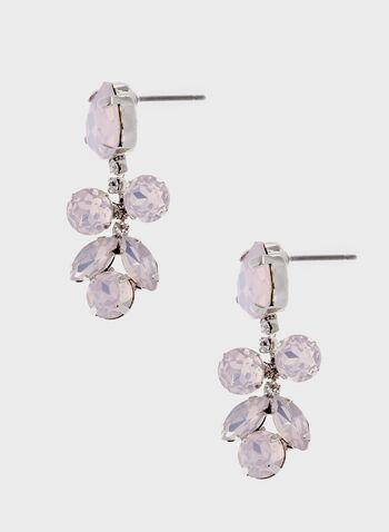 Boucles d'oreilles avec pendants en pierres facettées, Rose, hi-res