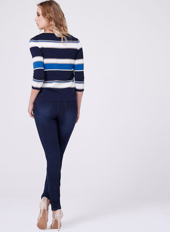 Bold Stripe Knit Sweater, Blue, hi-res